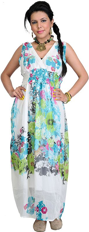 Bright-White Floral Printed Dress
