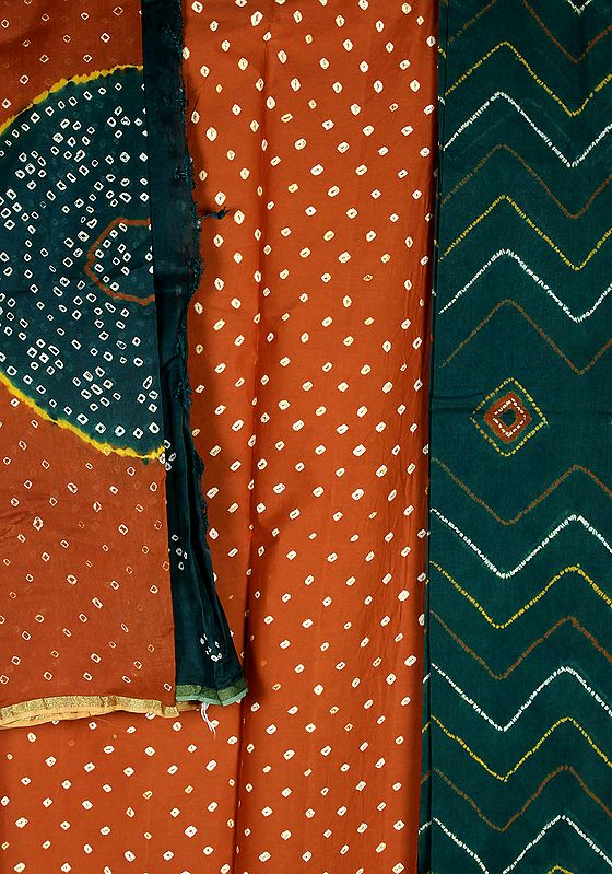 Brown and Green Bandhani Tie-Dye Suit from Kutch with Tissue Border