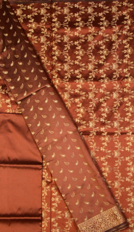 Brown Banarasi Suit with All-Over Brocade Weave