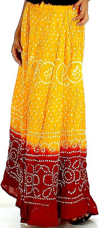 Amber and Red Shaded Bandhani Skirt