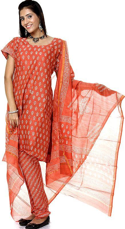 Burnt-Sienna Block-Printed Chanderi Choodidaar Salwar Suit