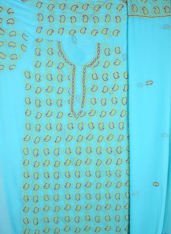 Capri-Blue Chikan Salwar Kameez Fabric from Lucknow with Hand-Embroidered Paisleys