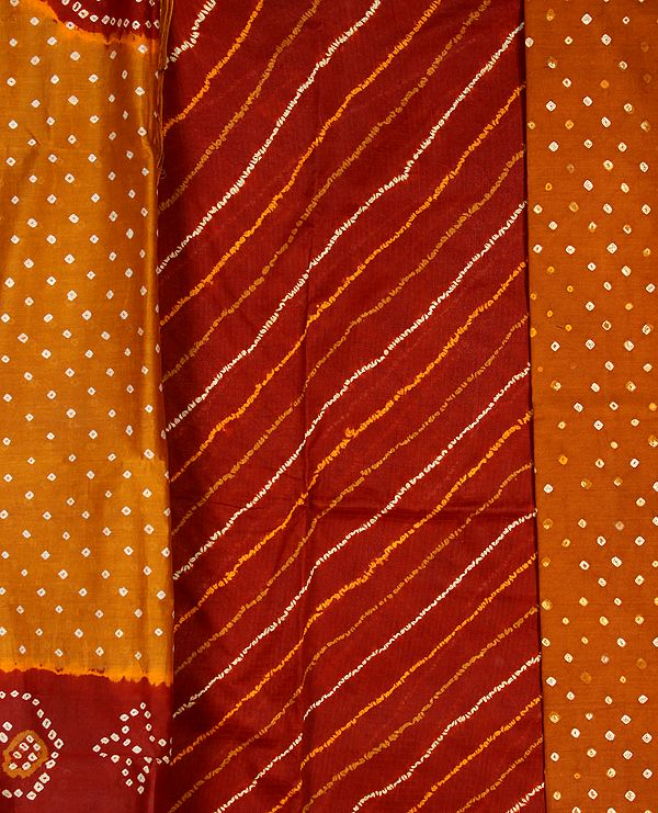 Caramel and Rust Bandhani Tie-Dye Suit from Kutch with Tissue Border