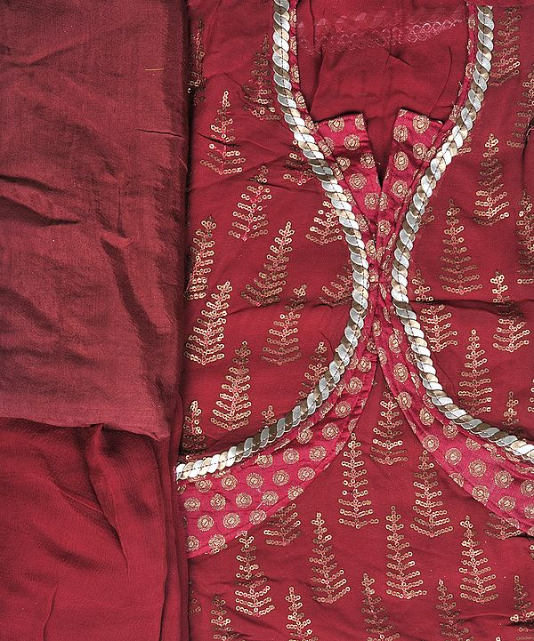 Cerise-Red Designer Suit with All-Over Embroidered Sequins