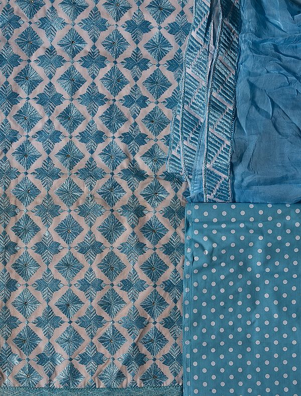 Chic-White and Blue Phulkari Salwar Kameez Fabric From Punjab with Ari Embroidery