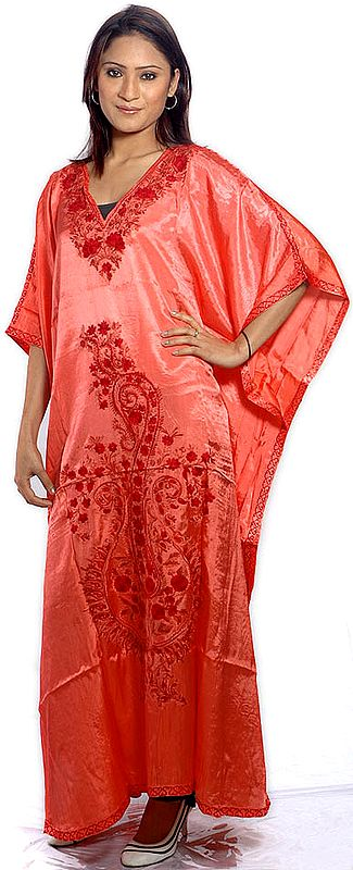 Coral Kaftan from Kashmir with Ari-Embroidered Flowers