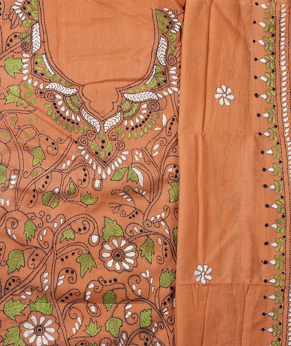 Coral Salwar Kameez Fabric with Kantha Stiched Embroidery All-Over