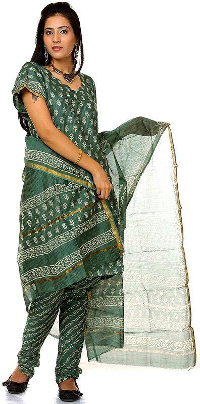 Duck-Green Block-Printed Chanderi Choodidaar Salwar Suit