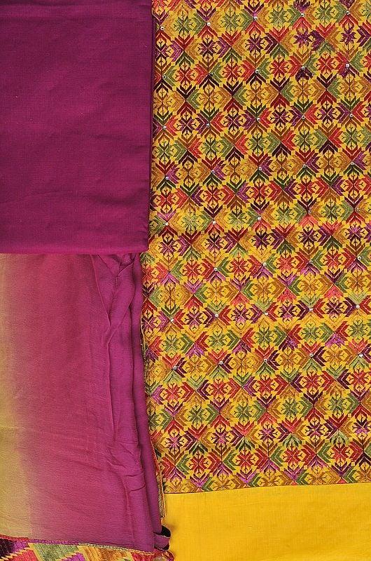Freesia-Yellow Phulkari Salwar Kameez Fabric From Punjab with Ari Embroidery