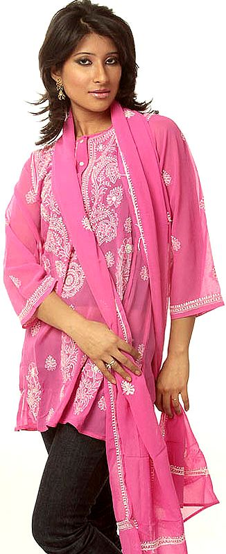 Fuchsia Chikan Embroidered Kurti Top with Stole