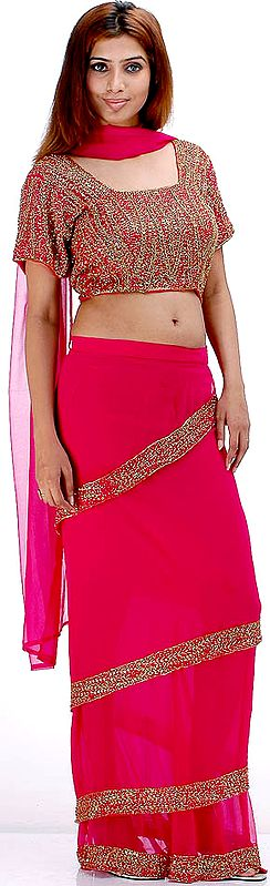 Fuschia Bridal Four Piece Readymade Sari Suit