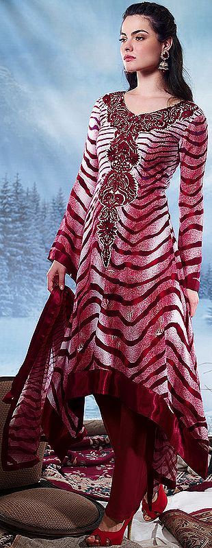 Garnet-Red Long Salwar Kameez Suit with Embroidery on Neck and Printed Tiger Stripes