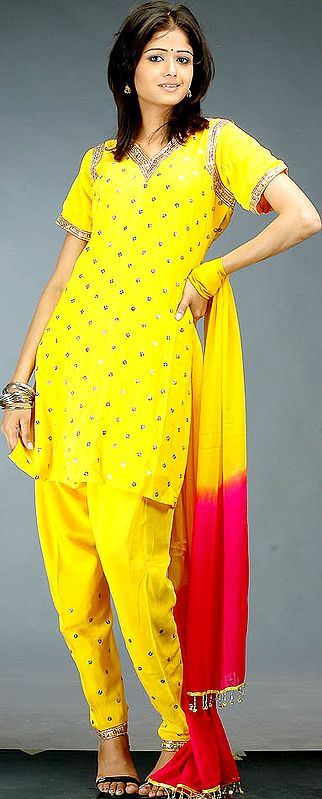 Golden Yellow Chudidar Suit with Beaded Bootis and Sequins