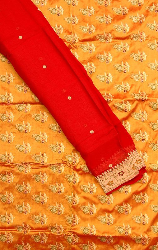 Golden-Mustard Hand-Woven Banarasi Suit with All-Over Floral Brocade Weave