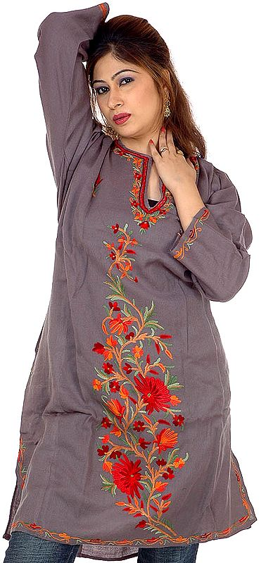 Gray Kashmiri Phiran with Floral Embroidery