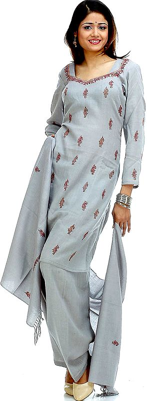 Gray Paisley Embroidered Salwar Suit with Shawl