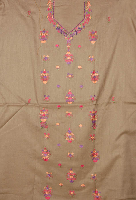 Gray Two-Piece Suit from Kashmir with Ari Embroidered Flowers