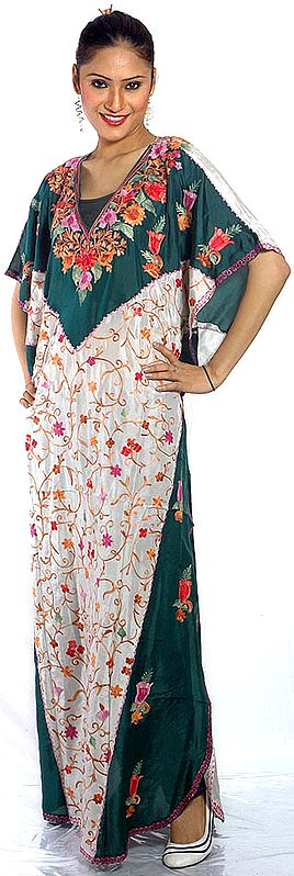 Green and Ivory V-Neck Kaftan with Crewel Embroidery All-Over