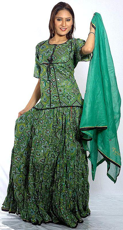 Green Ghagra Choli from Rajasthan with Mirrors and Chunri Print