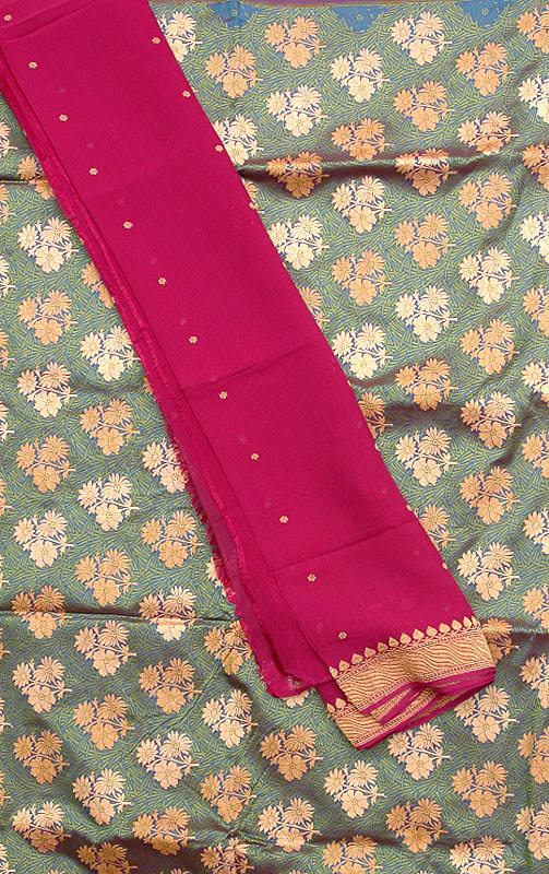 Green Hand-Woven Banarasi Suit with All-Over Floral Brocade Weave