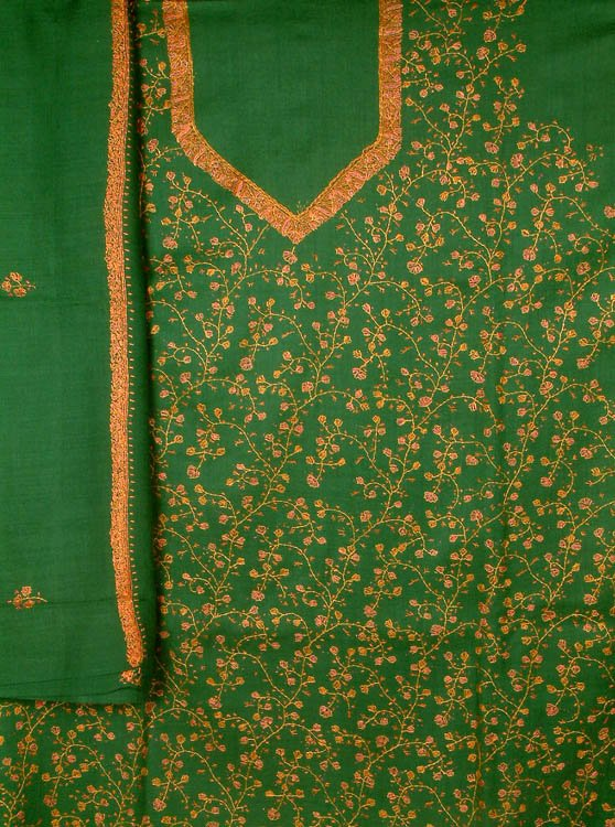 Green Jafreen Jaal Hand-Embroidered Suit from Kashmir with Shawl