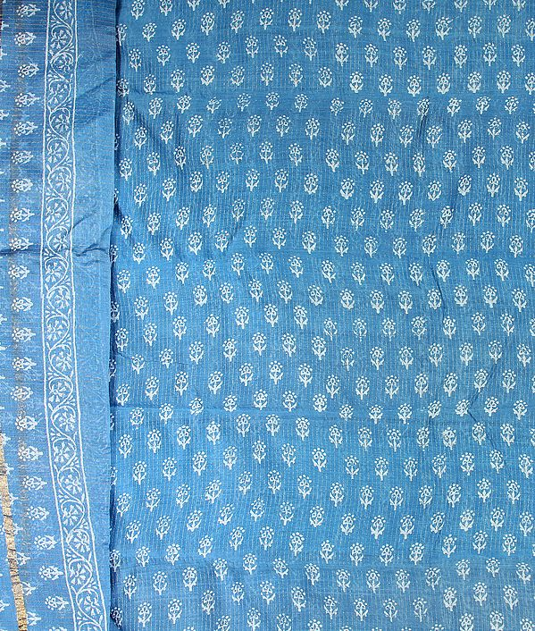 Heritage-Blue Chanderi Salwar Suit with All-Over Printed Bootis