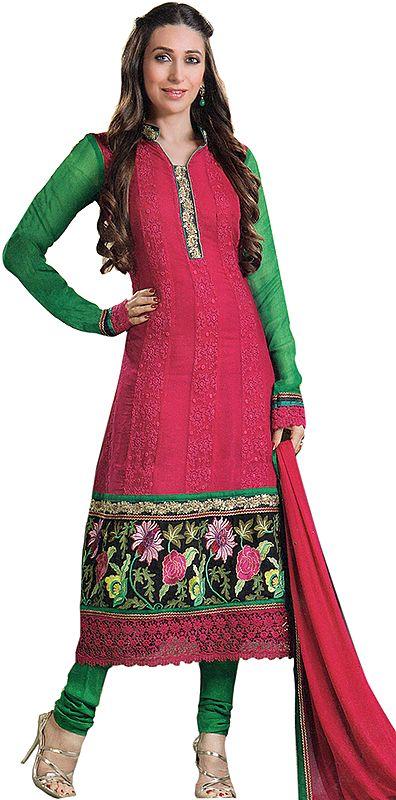 Hot-Pink Designer Chudidar Kameez Suit wth Parsi Embroidered Flowers and Crochet Border