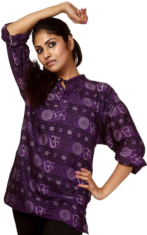 Imperial-Purple Kurti with Printed Om