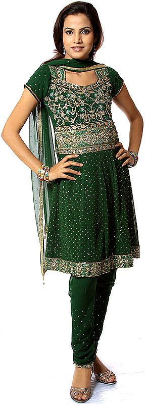 Islamic-Green Anarkali Suit with All-Over Embroidered Sequins
