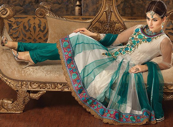 Ivory and Green Flared Kameez and Chudidar Suit with Ari Embroidery Flowers and Patch Border