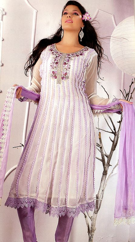 Ivory and Lilac Flared Salwar and Chudidar Suit with Embroidered Lace and Crochet Border