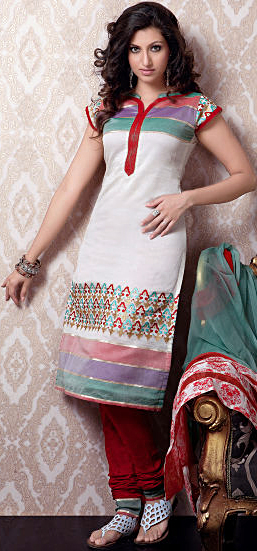 Ivory Designer Choodidaar Kameez Suit with Tri-Color Patches