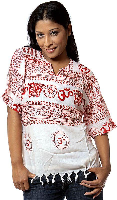 Ivory Jai Sri Ram Kurti Top with Red Print