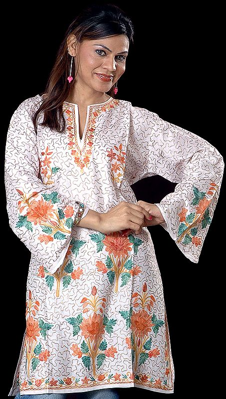 Ivory Kashmiri Top with All-Over Embroidery