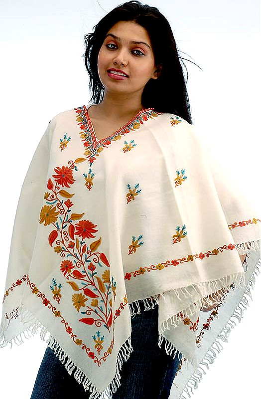Ivory Poncho with Floral Bootis All-Over