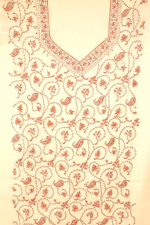 Ivory Two-Piece Hand-Embroidered Suit from Kashmir