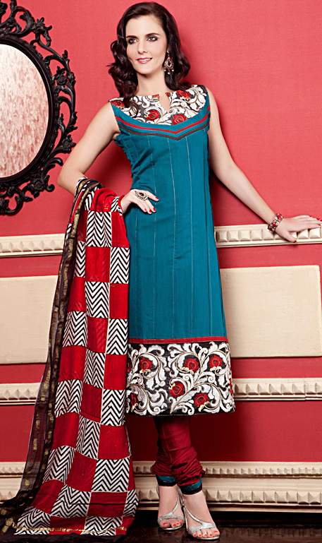 Ivy-Green Printed Chudidar Kameez Suit with Metallic Thread Work and Wide Patch Border