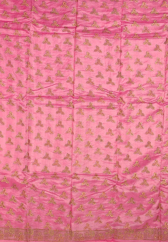 Pink Banarasi Silk Suit with All-Over Woven Bootis