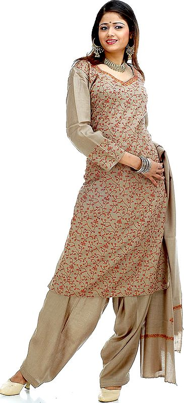 Khaki Needle Embroidered Salwar Suit with Shawl