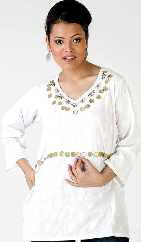 Ivory Designer Kurti with Beadwork and Self-Design