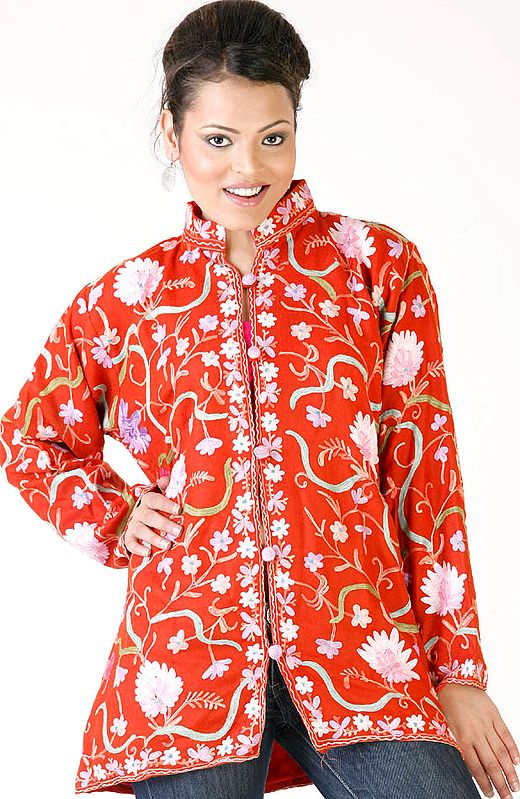 Rust Floral Jacket from Kashmir