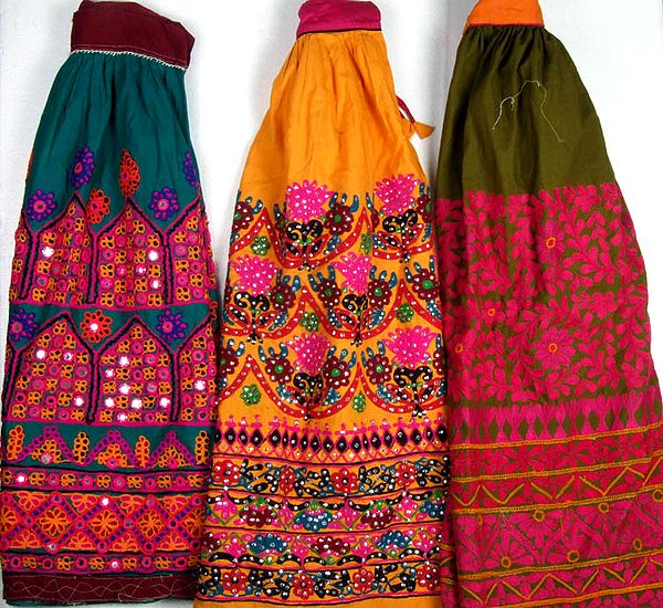 Lot of Three Hand-Embroidered Skirts from Kutchh