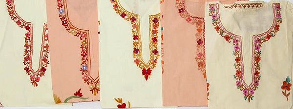 Lot of Five Kashmiri Tops with Ari Embroidery