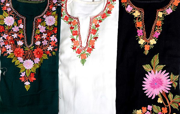 Lot of Three Crewel Embroidered Phirans from Kashmir