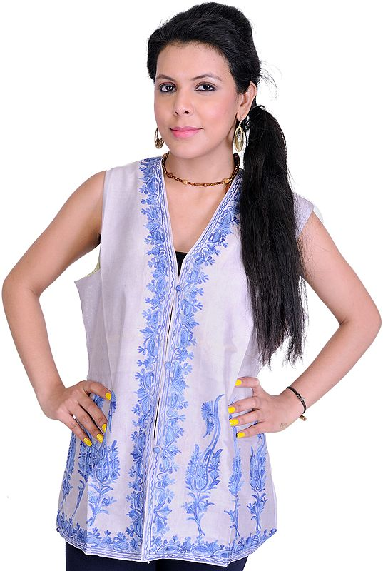 Lilac-Marble Waistcoat from Kashmir with Ari Embroidered Paisleys