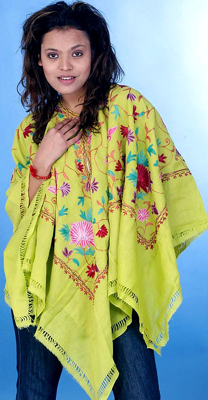 Lime-Green Poncho with Floral Embroidery All-Over