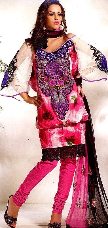 Magenta Designer Chudidar Kameez Suit with Crewel Embroidery on Neck and Crochet Border