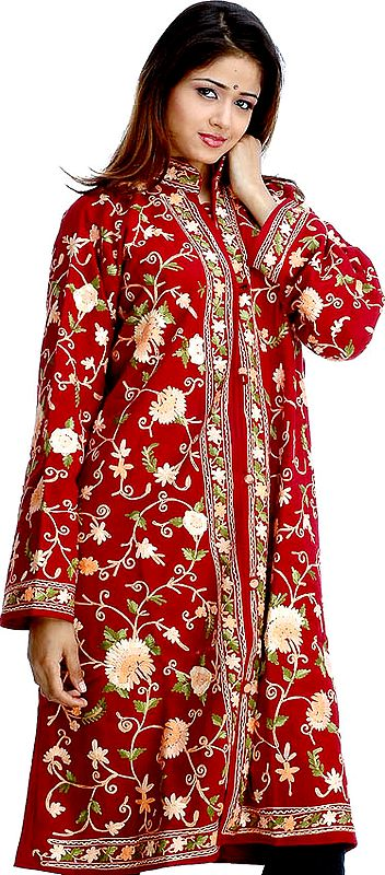 Maroon Long Floral Ari Jacket With Multi-Color Embroidery