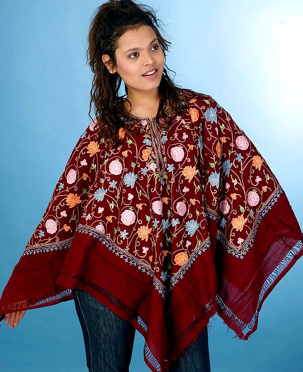 Maroon Poncho with Floral Embroidery All-Over