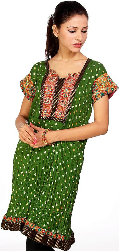 Medium-Green Bandhani Tie-Dye Kurti from Gujarat with Applique Work